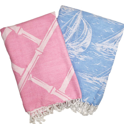Turkish T Basic Beach Towel - Hamptons Hot Pink with Bamboo Proverbs