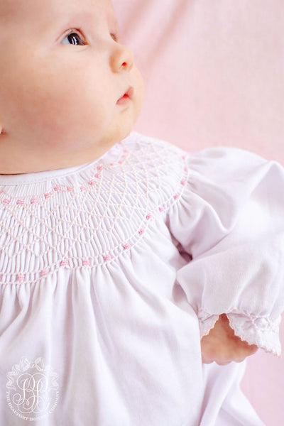 Sweetly Smocked Greeting Gown - Worth Avenue White with Palm Beach Pink
