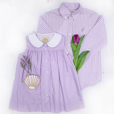 Dean's List Dress Shirt - Lauderdale Lavender Gingham with Lauderdale Lavender Stork