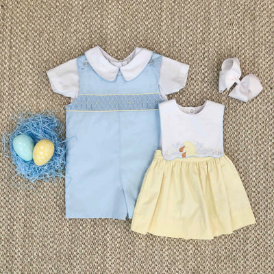 Snyder's Smocked Jon Jon - Buckhead Blue with Bellport Butter Yellow & Worth Avenue White