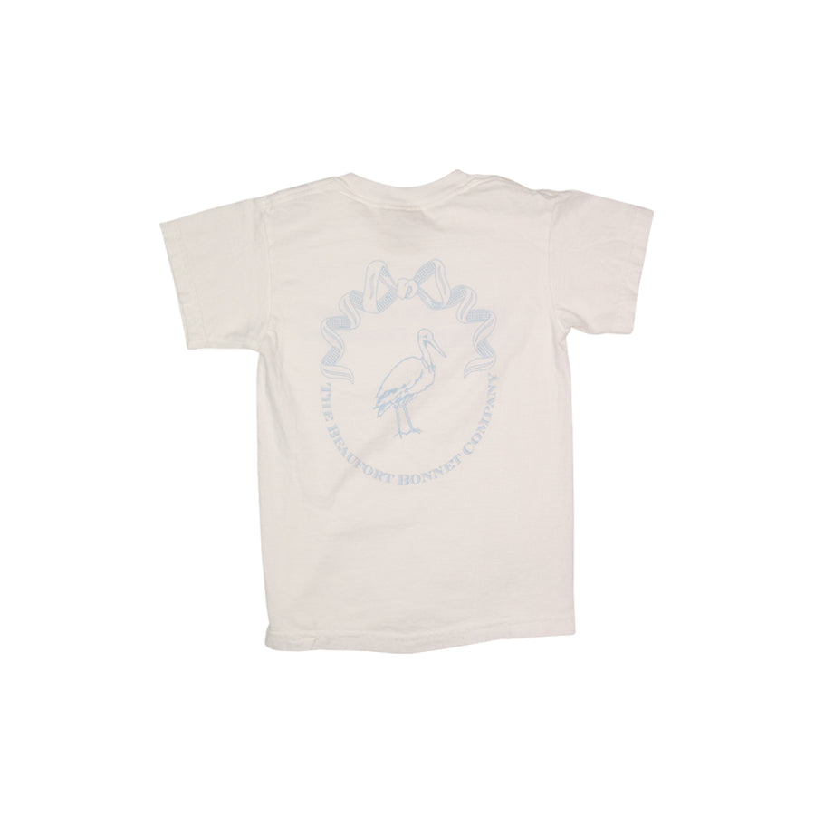 Short Sleeve Children's T-Shirt - Worth Avenue White with Blue