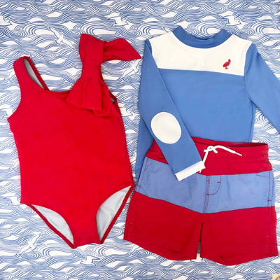 Wave Spotter Swim Shirt - Sunrise Blvd. Blue with Worth Avenue White and Richmond Red Stork