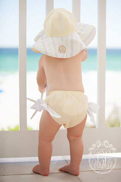 Cissy Sun Hat - Seaside Sunny Yellow Seersucker with Rainbow Row Stripe Combo