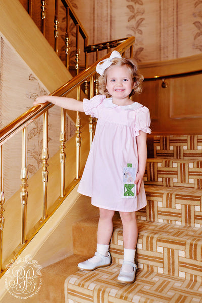 Holly Day Dress - Plantation Pink with Horse and Stable Applique