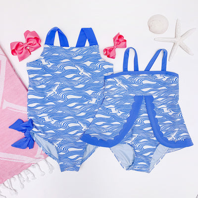 Laguna Beach Bathing Suit - Gull Play with Sunrise Blvd. Blue