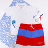 Country Club Colorblock Trunks - Richmond Red and Barbados Blue with Worth Avenue White Stork