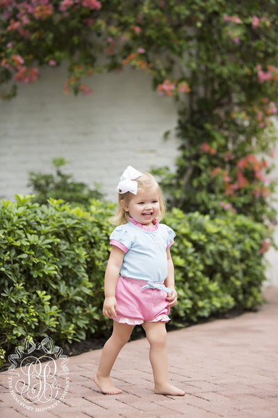 Little Miss Prim and Proper Polo Onesie - Long Bay Blue with Palm Beach Pink Ruffle
