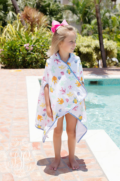 Wrap & Snap Hooded Towel (unisex) - Fripp Fishies with Barbados Blue