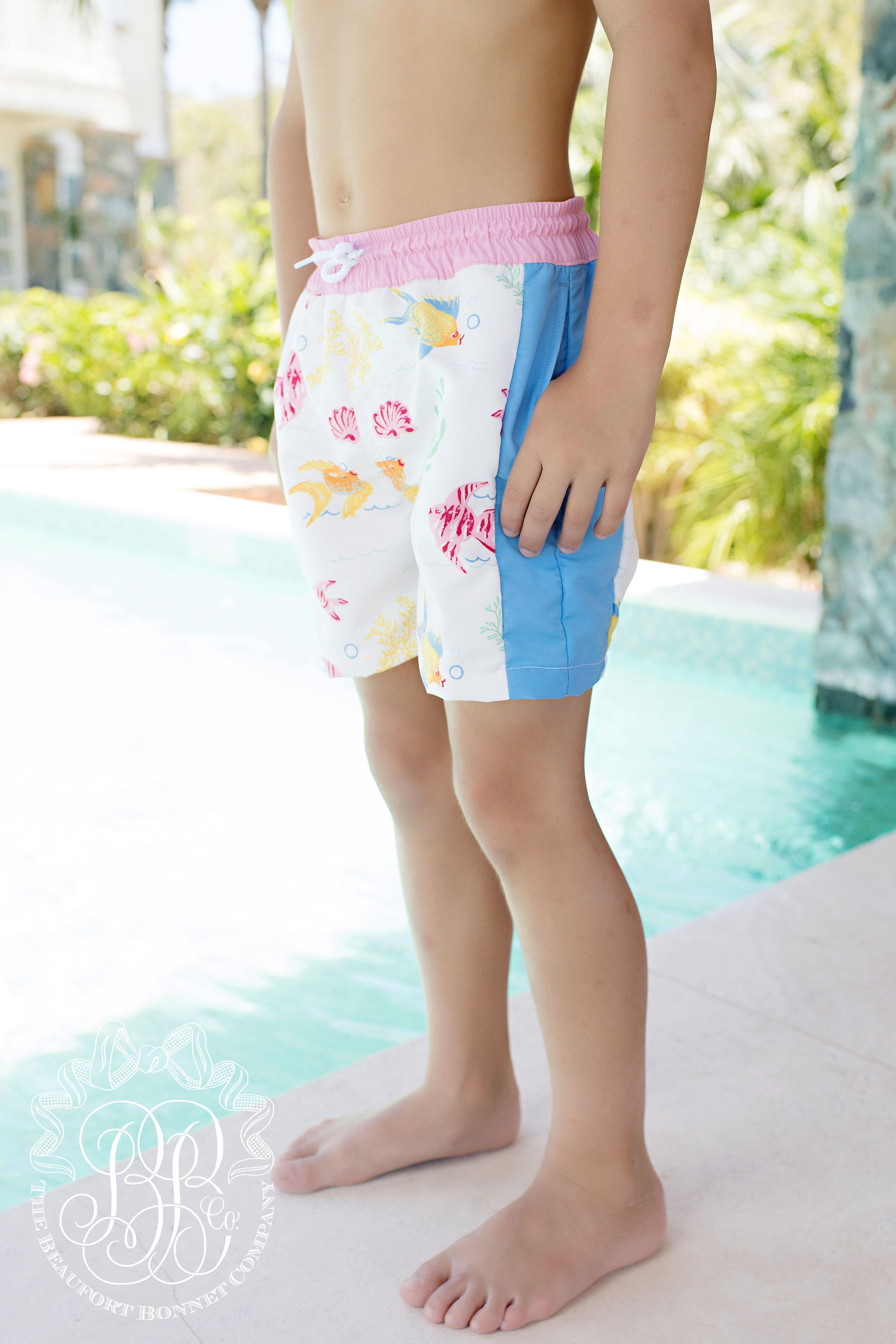 5490fffe209ac Vintage Volley Trunks - Fripp Fishies with Hamptons Hot Pink and Barbados  Blue