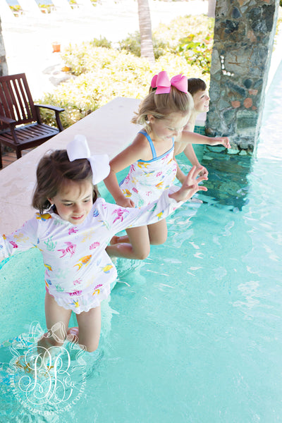 Wave Spotter Swim Set - Fripp Fishies with Hamptons Hot Pink