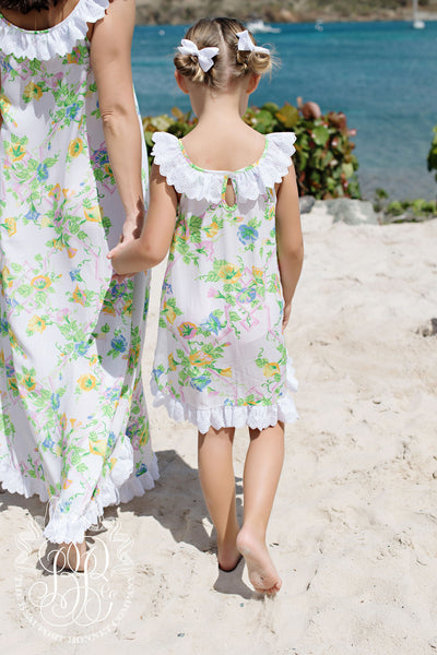 Bellefaire Frock - Marietta Morning Glory with White Eyelet