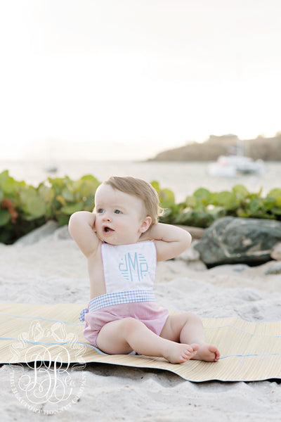 Sayre Sunsuit - Worth Avenue White with Richmond Red and Blue Watercolor Windowpane