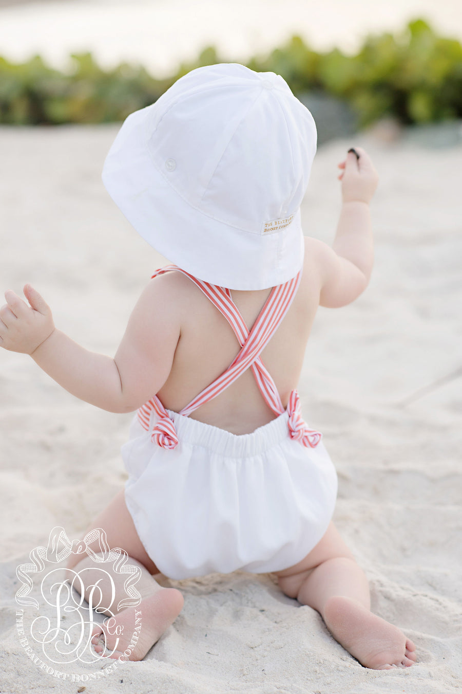 Sayre Sunsuit - Worth Avenue White with Tega Cay Tangerine Stripe