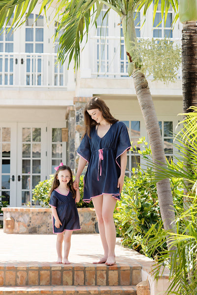 Tabby Tunic - Nantucket Navy with Hamptons Hot Pink Trim