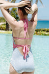 Mitzy Momtini Bathing Suit (Ladies) - Wilmington Waves with Hamptons Hot Pink