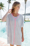 Colada Cover Up (Ladies) - Wilmington Waves with Hamptons Hot Pink