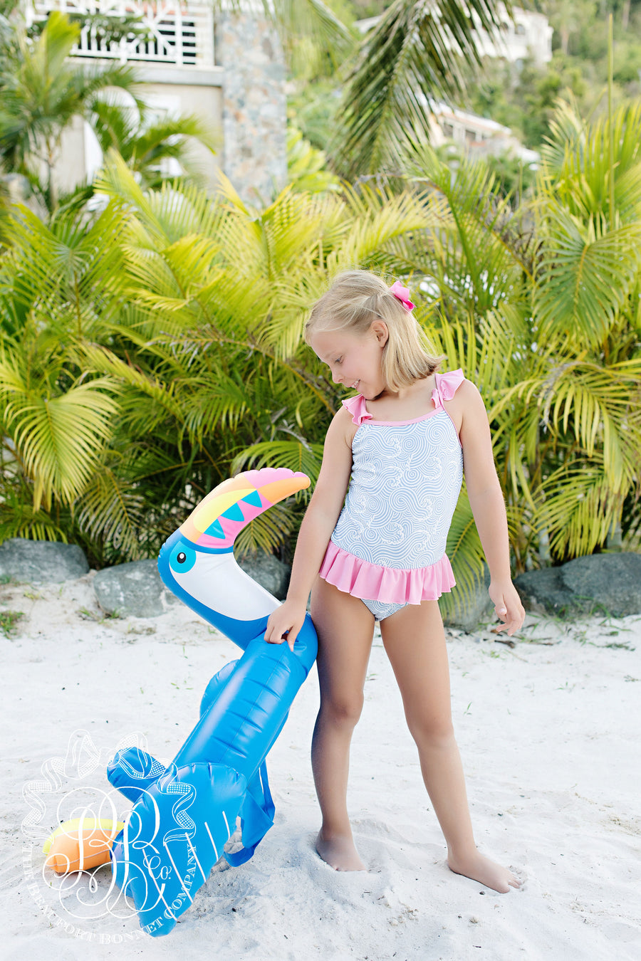 St. Lucia Swimsuit - Wilmington Waves with Hamptons Hot Pink