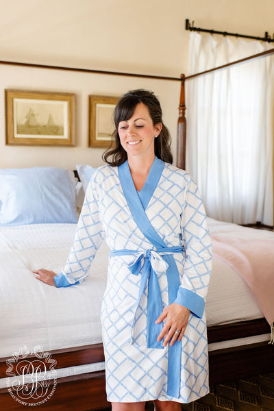 Ready or Not Robe - Bamboo Proverbs with Barbados Blue