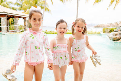 Wave Spotter Swim Set - Ridgewood Rows with Sandpearl Pink
