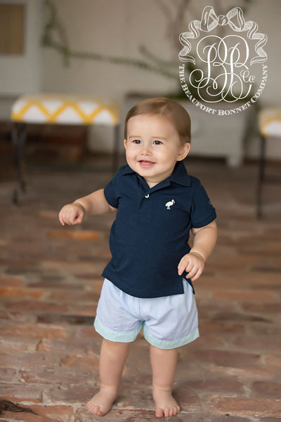 Prim and Proper Polo Onesie- Nantucket Navy