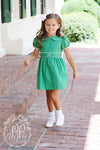 Cindy Lou Sash Dress - Kiawah Kelly Green with Worth Avenue White