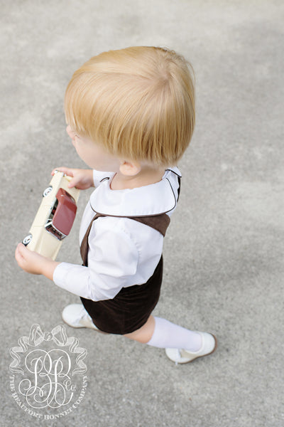 Peter Pan Collar Shirt - White Long Sleeve Woven with Chelsea Chocolate Piping