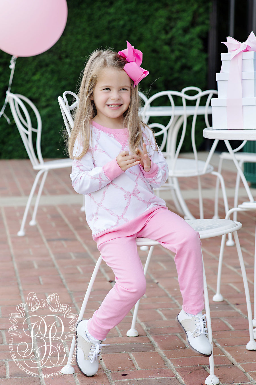 Cassidy Comfy Crewneck - Belle Meade Bow with Hamptons Hot Pink