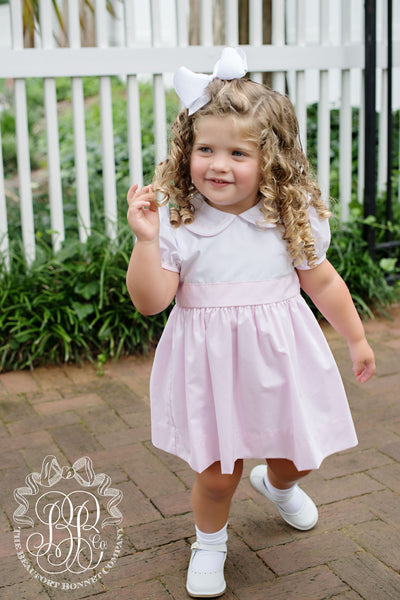 Cindy Lou Sash Dress - Worth Avenue White with Plantation Pink