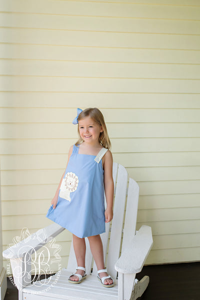 Ginny Jumper - Park City Periwinkle with Lion Applique