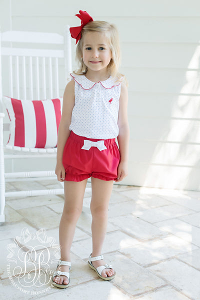 Paige's Playful Polo - Rockefeller Royal Micro Dot with Richmond Red