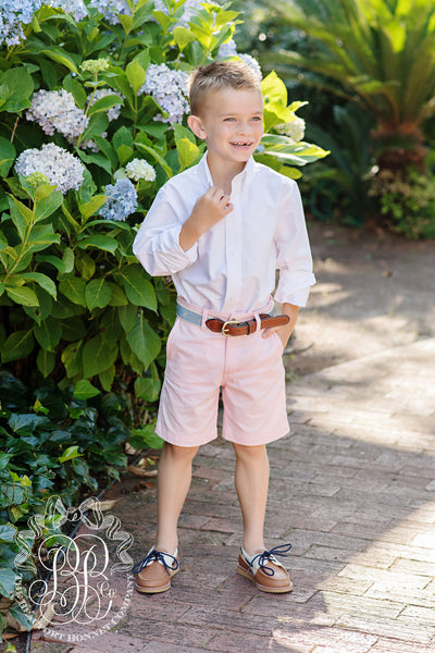 Charlie's Chinos - Palm Beach Pink with Seashore Sherbet Stork