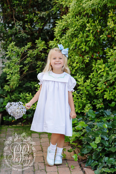 Short Sleeve Pearl Pintuck Dress - Worth Avenue White with Bluebird and Bow Embroidery