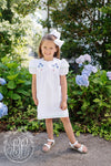 Dottie Dress - Worth Avenue White with Flower Embroidery