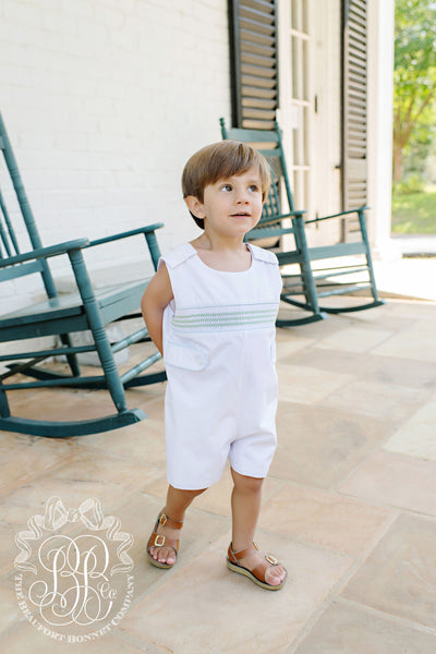 Snyder's Smocked Jon Jon - Worth Avenue White with Lexington Lime and Buckhead Blue