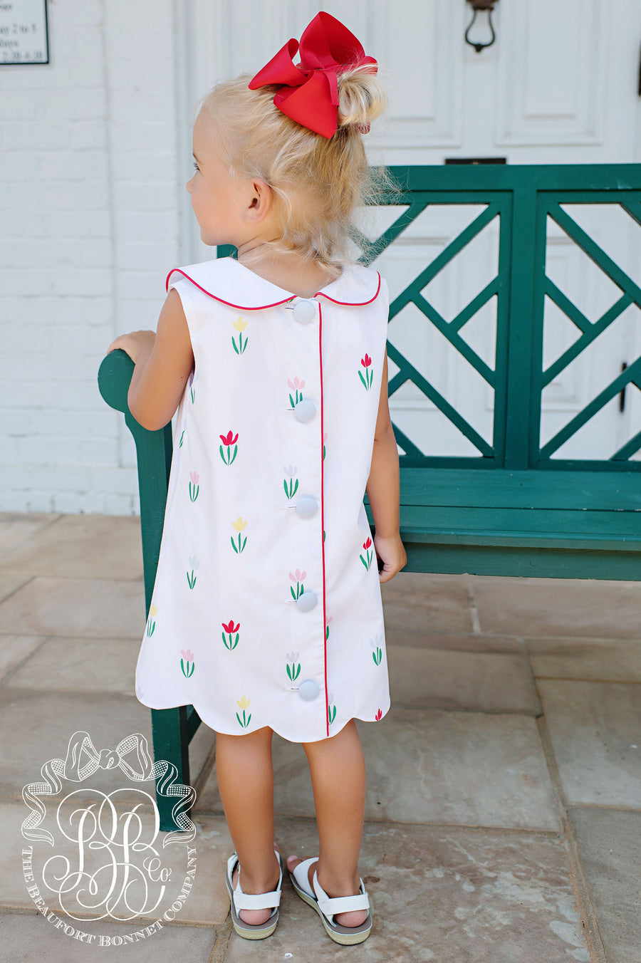 Luanne's Lunch Dress - Travilah Tulip with Richmond Red