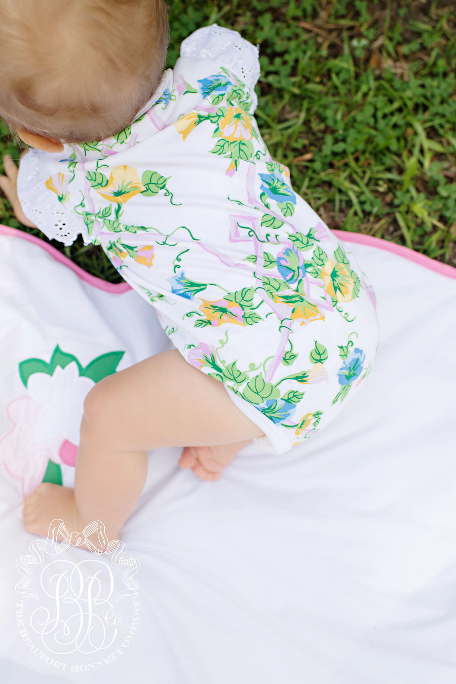 Tummy Time Throw - Worth Avenue White with Bird and Flower Applique