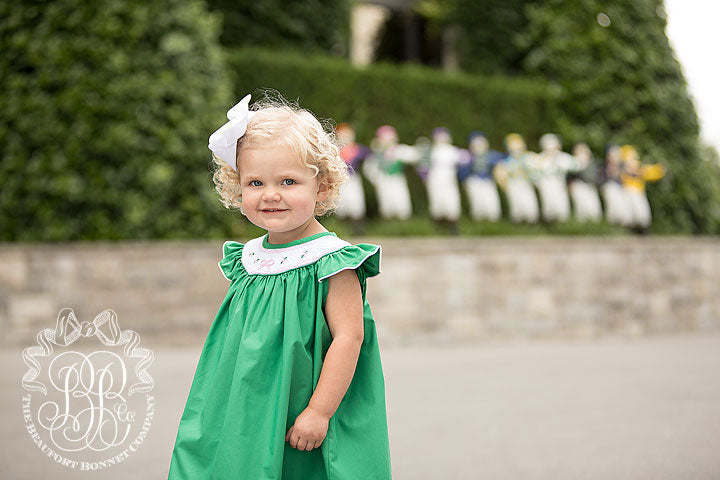 Sandy Smocked Dress - Kiawah Kelly Green with Smocking