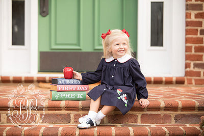 Long Sleeve Tabitha's Teachers Pet Dress - Nantucket Navy with Turtle Applique