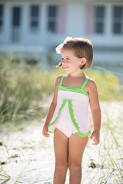 Stratford Scallop Swimsuit - Plantation Pink with Lexington Lime