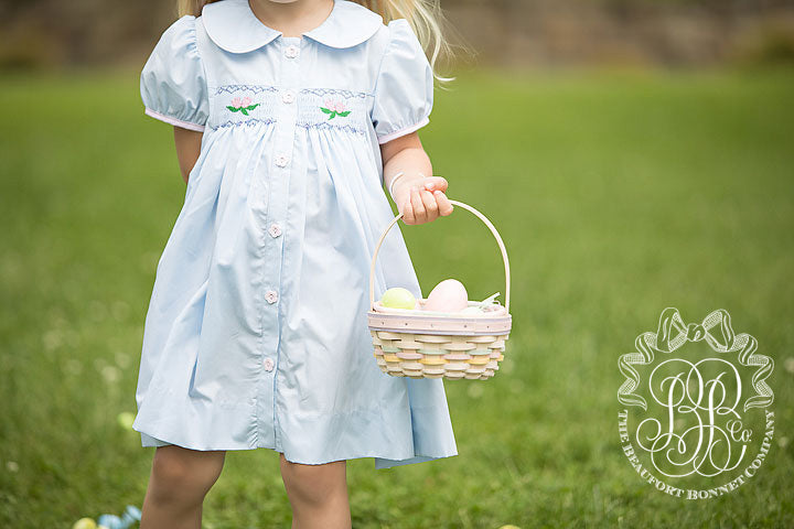 Smocked Tabitha's Teachers Pet Dress - Buckhead Blue with Floral Smocking