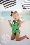 Bridgehampton Bathing Suit - Quack, Quack, Honk with Nantucket Navy & Worth Avenue White