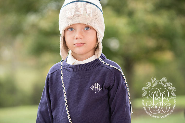 Parrish Pom Pom Hat - Keeneland Khaki with Palmetto Pearl and Nantucket Navy