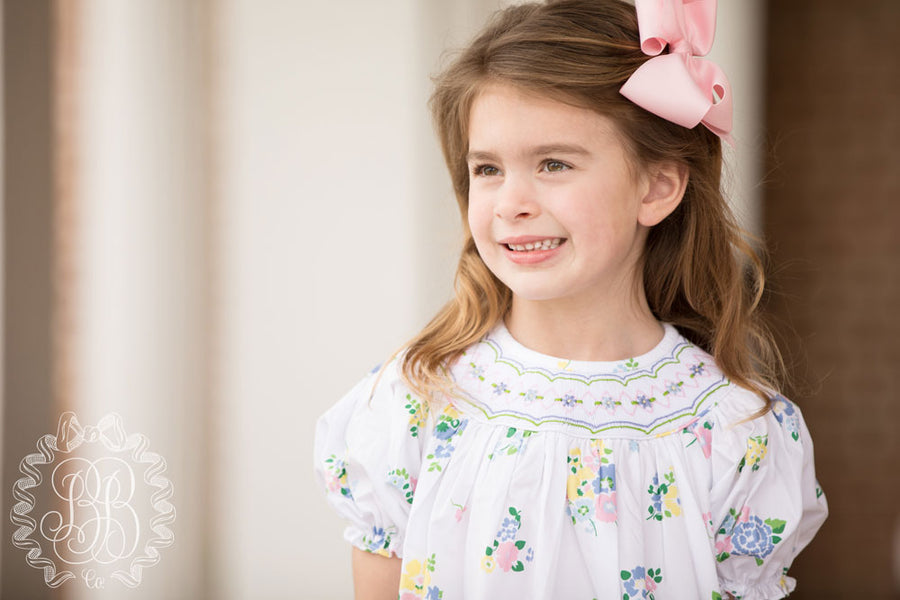 Sandy Smocked Dress - Biltmore Bouquet Blues with Smocking