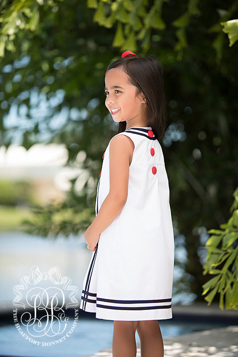 Madge Main Sail Dress - Worth Avenue White with Nantucket Navy & Richmond Red