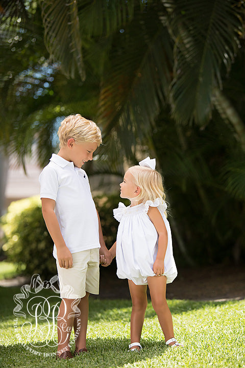 Prim & Proper Polo - Worth Avenue White with Nantucket Navy Stork