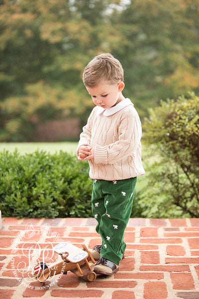 Critter Princeton Pant - Kiawah Kelly Green Corduroy with Elephant Embroidery
