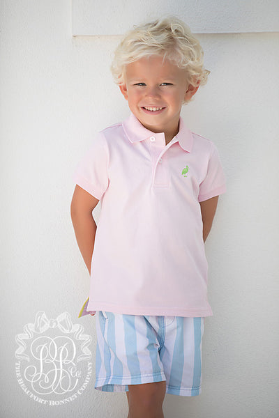Prim & Proper Polo - Plantation Pink with Lexington Lime Stork