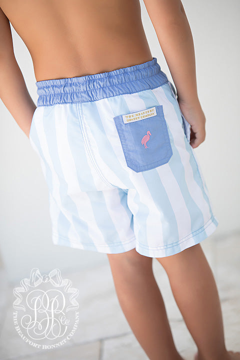 Turtle Bay Trunks - Buckhead Blue & White Stripe with Park City Periwinkle