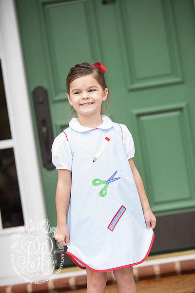 Annie Apron Dress - Buckhead Blue with Richmond Red and Back to School Appliques