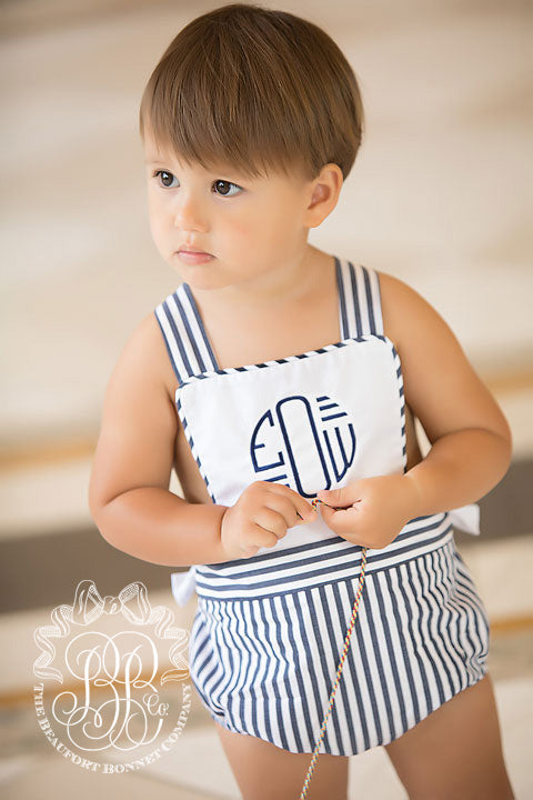Seabrook Sunsuit - Worth Avenue White with Nantucket Navy Stripe